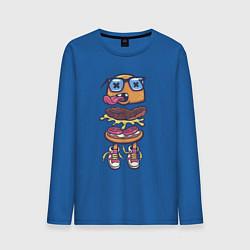 Лонгслив хлопковый мужской Гамбургер цвета синий — фото 1