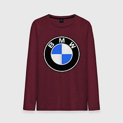Лонгслив хлопковый мужской Logo BMW цвета меланж-бордовый — фото 1