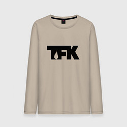 Лонгслив хлопковый мужской TFK: Black Logo цвета миндальный — фото 1