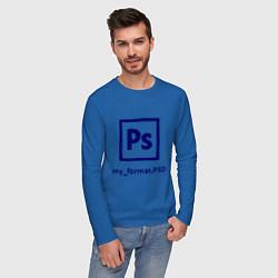 Лонгслив хлопковый мужской Photoshop цвета синий — фото 2