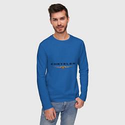 Лонгслив хлопковый мужской Chrysler logo цвета синий — фото 2