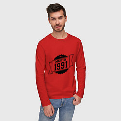 Лонгслив хлопковый мужской Made in 1991 цвета красный — фото 2