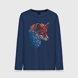 Лонгслив хлопковый мужской Пестрая лисица цвета тёмно-синий — фото 1