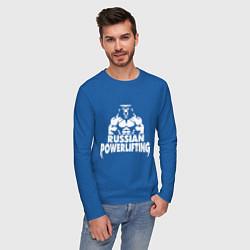 Лонгслив хлопковый мужской Russian powerlifting цвета синий — фото 2