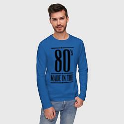 Лонгслив хлопковый мужской Made in the 80s цвета синий — фото 2