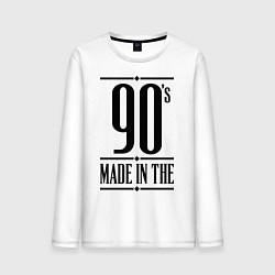 Лонгслив хлопковый мужской Made in the 90s цвета белый — фото 1
