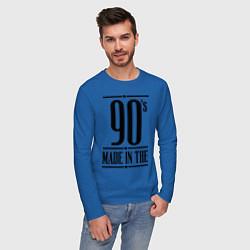 Лонгслив хлопковый мужской Made in the 90s цвета синий — фото 2