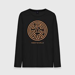 Лонгслив хлопковый мужской Westworld labyrinth цвета черный — фото 1