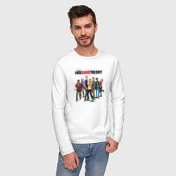Лонгслив хлопковый мужской Heroes of the Big Bang Theory цвета белый — фото 2