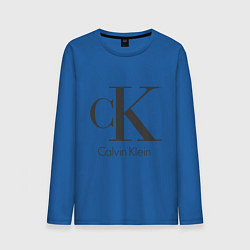 Лонгслив хлопковый мужской Calvin Klein цвета синий — фото 1