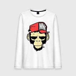 Лонгслив хлопковый мужской Monkey Swag цвета белый — фото 1
