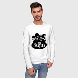 Лонгслив хлопковый мужской The Beatles Band цвета белый — фото 2