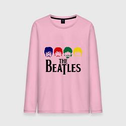Лонгслив хлопковый мужской The Beatles Heads цвета светло-розовый — фото 1