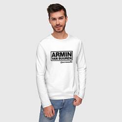 Лонгслив хлопковый мужской Armin van Buuren цвета белый — фото 2