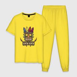 Пижама хлопковая мужская Aku-Aku (Crash Bandicoot) цвета желтый — фото 1