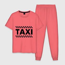 Пижама хлопковая мужская Taxi цвета коралловый — фото 1