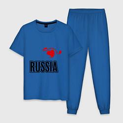 Пижама хлопковая мужская Russia Leaf цвета синий — фото 1