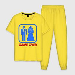 Пижама хлопковая мужская Game over цвета желтый — фото 1