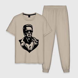 Пижама хлопковая мужская Железный Арни цвета миндальный — фото 1