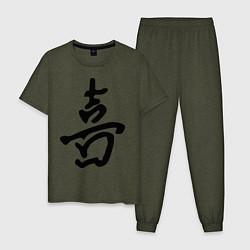 Пижама хлопковая мужская Счастье цвета меланж-хаки — фото 1
