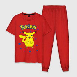 Пижама хлопковая мужская Pokemon цвета красный — фото 1