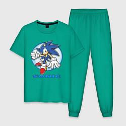 Пижама хлопковая мужская Sonic цвета зеленый — фото 1