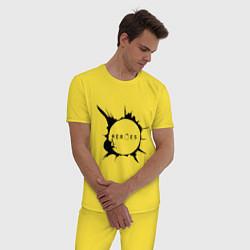 Пижама хлопковая мужская Heroes spot цвета желтый — фото 2