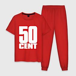 Пижама хлопковая мужская 50 cent цвета красный — фото 1