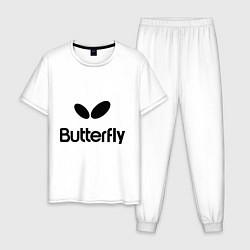 Пижама хлопковая мужская Butterfly Logo цвета белый — фото 1