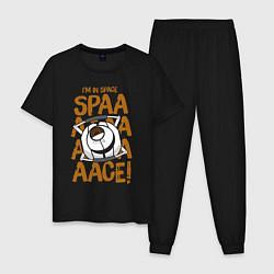Пижама хлопковая мужская Space цвета черный — фото 1