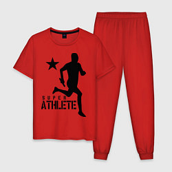 Пижама хлопковая мужская Лёгкая атлетика цвета красный — фото 1