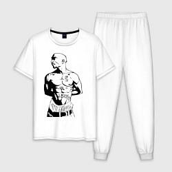 Пижама хлопковая мужская 2pac цвета белый — фото 1