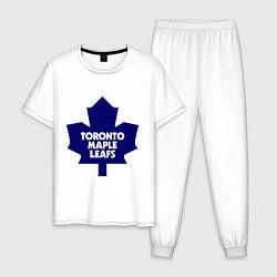 Пижама хлопковая мужская Toronto Maple Leafs цвета белый — фото 1
