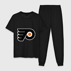 Пижама хлопковая мужская Philadelphia Flyers цвета черный — фото 1