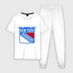 Пижама хлопковая мужская New York Rangers цвета белый — фото 1