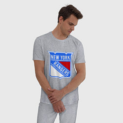 Пижама хлопковая мужская New York Rangers цвета меланж — фото 2