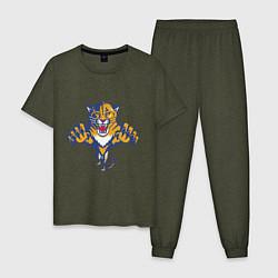 Пижама хлопковая мужская Florida Panthers цвета меланж-хаки — фото 1