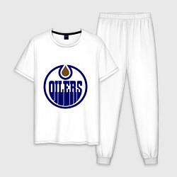 Пижама хлопковая мужская Edmonton Oilers цвета белый — фото 1