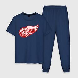 Пижама хлопковая мужская Detroit Red Wings цвета тёмно-синий — фото 1
