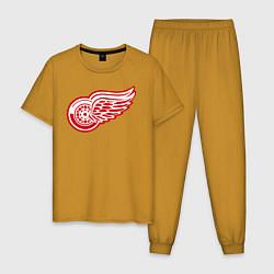 Пижама хлопковая мужская Detroit Red Wings цвета горчичный — фото 1