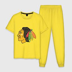 Пижама хлопковая мужская Chicago Blackhawks цвета желтый — фото 1