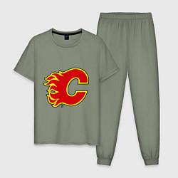 Пижама хлопковая мужская Calgary Flames цвета авокадо — фото 1