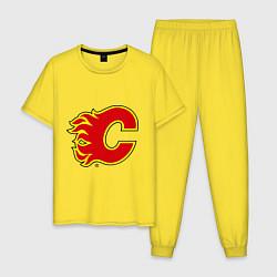 Пижама хлопковая мужская Calgary Flames цвета желтый — фото 1