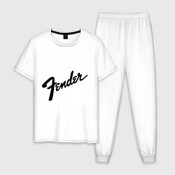 Пижама хлопковая мужская Fender цвета белый — фото 1