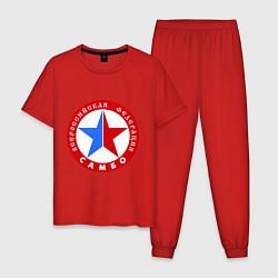 Пижама хлопковая мужская Федерация САМБО цвета красный — фото 1