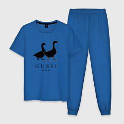 Пижама хлопковая мужская GUSSI Ga-Ga-Ga цвета синий — фото 1