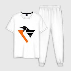 Пижама хлопковая мужская Pittsburgh Penguins цвета белый — фото 1