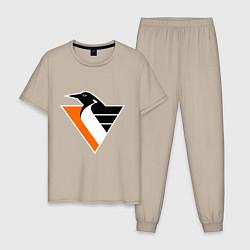 Пижама хлопковая мужская Pittsburgh Penguins цвета миндальный — фото 1