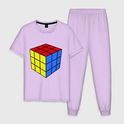 Пижама хлопковая мужская Рубик цвета лаванда — фото 1