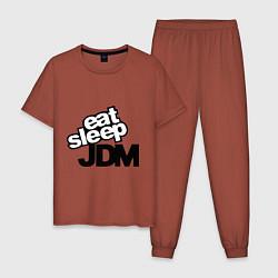 Пижама хлопковая мужская Eat sleep jdm цвета кирпичный — фото 1